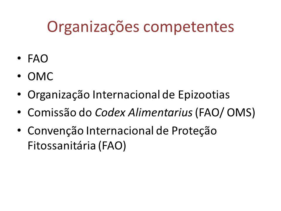 Organizações competentes • FAO • OMC • Organização Internacional de Epizootias • Comissão do Codex Alimentarius (FAO/ OMS) • Convenção Internacional d