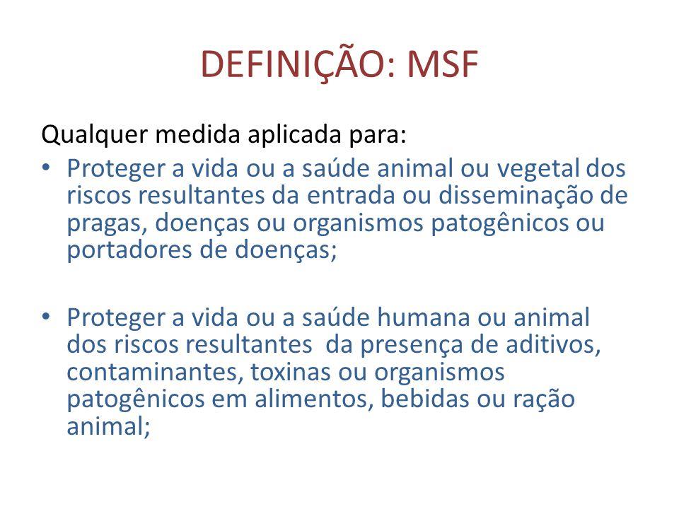 DEFINIÇÃO: MSF Qualquer medida aplicada para: • Proteger a vida ou a saúde animal ou vegetal dos riscos resultantes da entrada ou disseminação de prag
