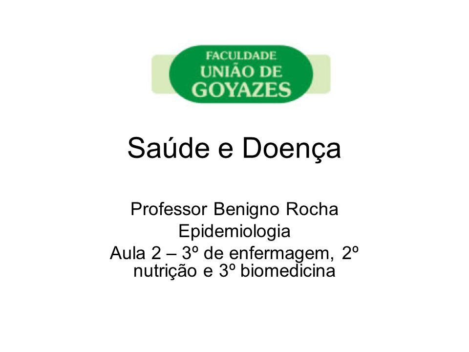Saúde e Doença Professor Benigno Rocha Epidemiologia Aula 2 – 3º de enfermagem, 2º nutrição e 3º biomedicina