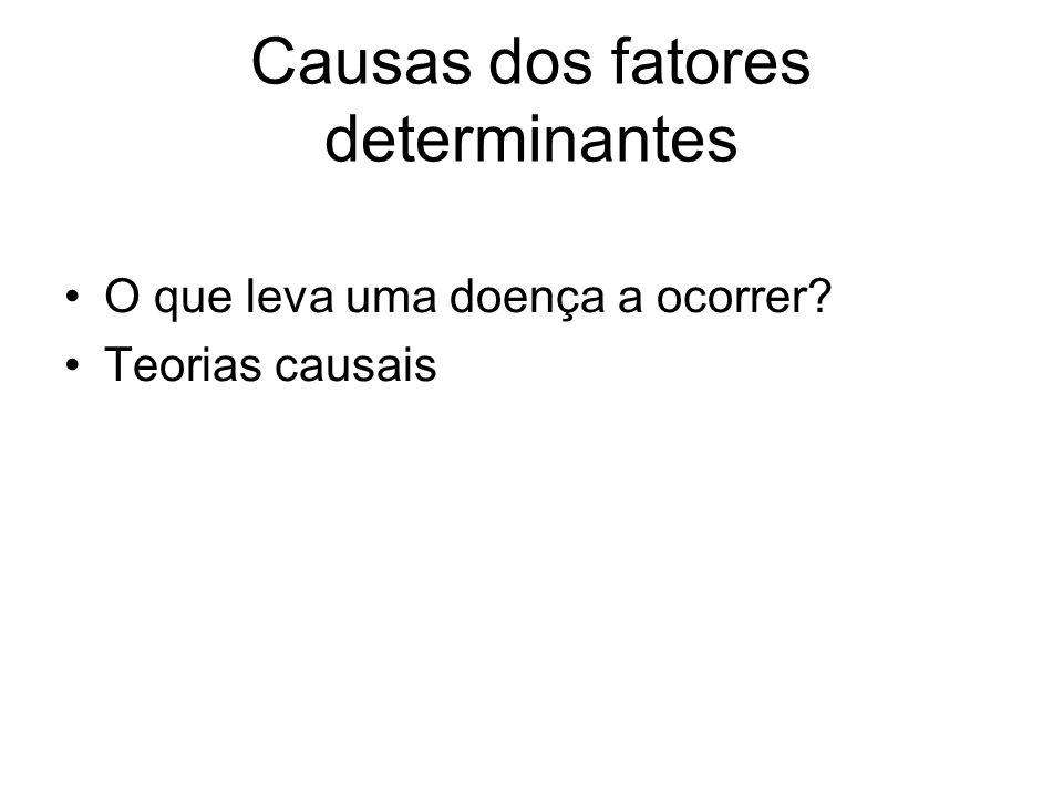 Causas dos fatores determinantes •O que leva uma doença a ocorrer? •Teorias causais