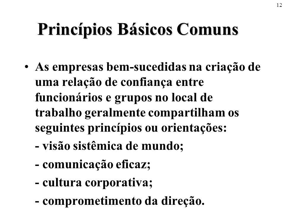 12 Princípios Básicos Comuns •As empresas bem-sucedidas na criação de uma relação de confiança entre funcionários e grupos no local de trabalho geralm