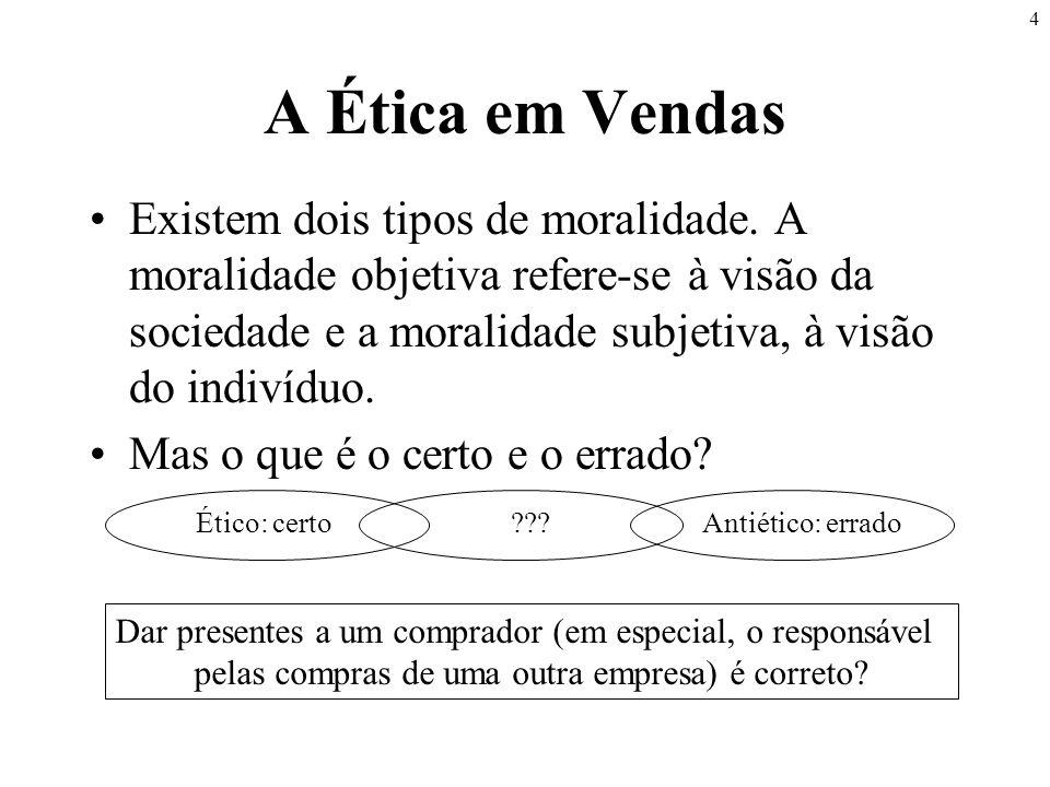 4 A Ética em Vendas •Existem dois tipos de moralidade. A moralidade objetiva refere-se à visão da sociedade e a moralidade subjetiva, à visão do indiv