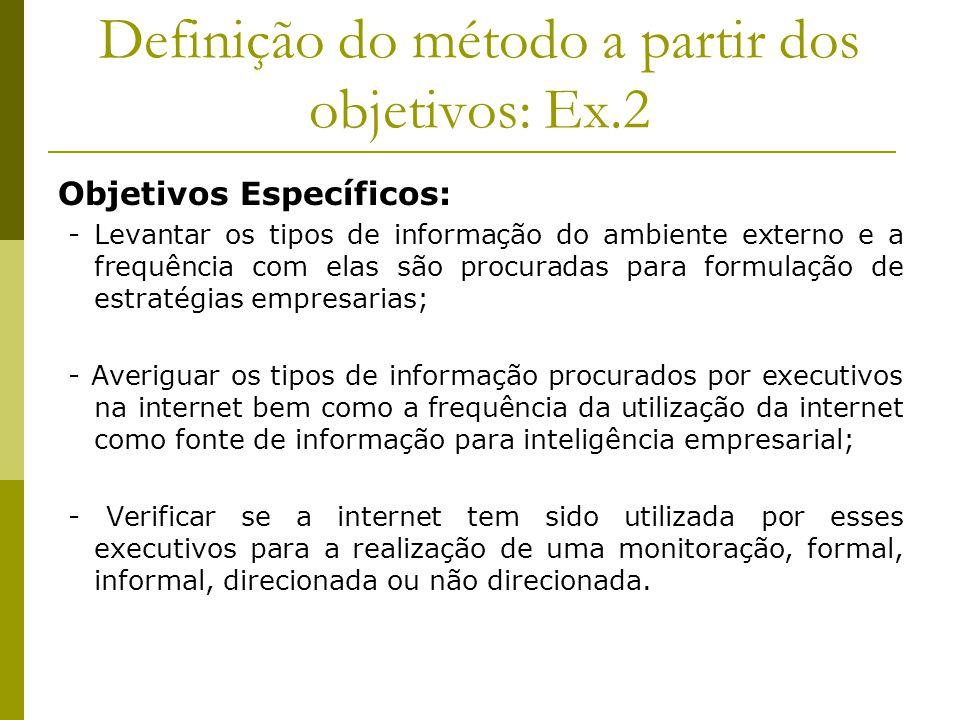 Definição do método a partir dos objetivos: Ex.2 Objetivos Específicos: - Levantar os tipos de informação do ambiente externo e a frequência com elas