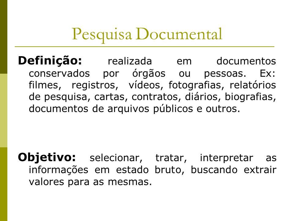 Pesquisa Documental Definição: realizada em documentos conservados por órgãos ou pessoas. Ex: filmes, registros, vídeos, fotografias, relatórios de pe