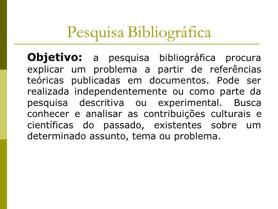 Pesquisa Bibliográfica Objetivo: a pesquisa bibliográfica procura explicar um problema a partir de referências teóricas publicadas em documentos. Pode