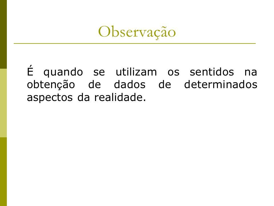 Observação É quando se utilizam os sentidos na obten ç ão de dados de determinados aspectos da realidade.