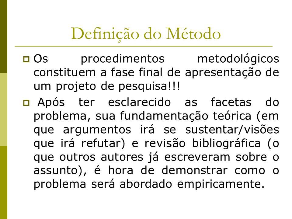 Definição do Método  Os procedimentos metodológicos constituem a fase final de apresentação de um projeto de pesquisa!!!  Após ter esclarecido as fa