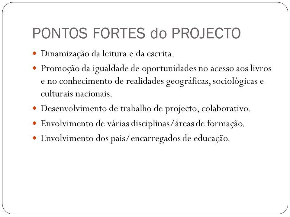PONTOS FORTES do PROJECTO  Dinamização da leitura e da escrita.  Promoção da igualdade de oportunidades no acesso aos livros e no conhecimento de re