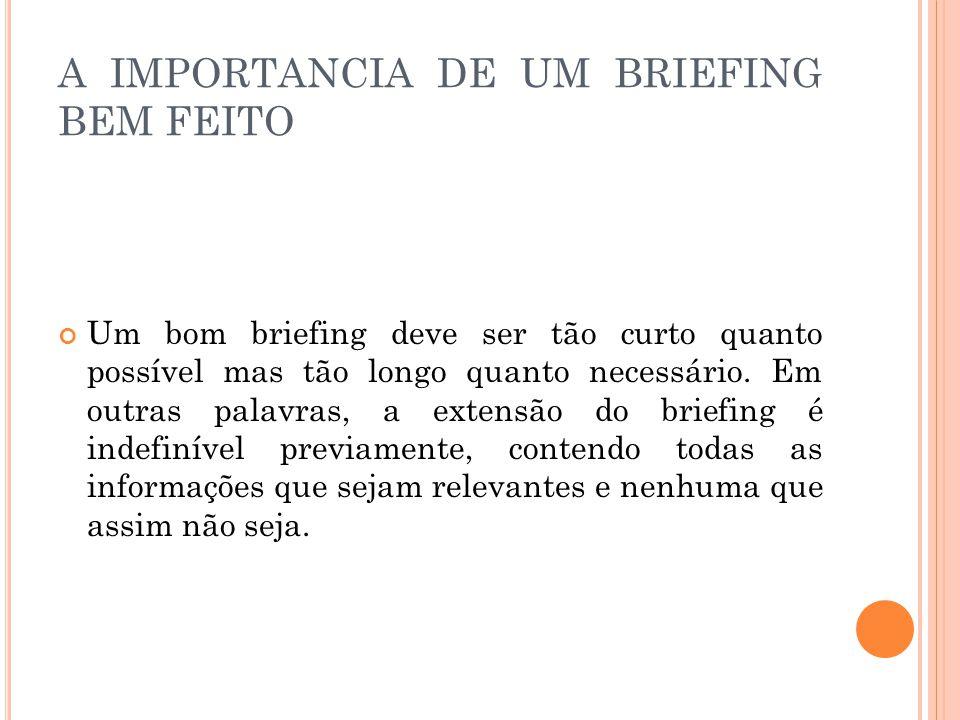 A IMPORTANCIA DE UM BRIEFING BEM FEITO Um bom briefing deve ser tão curto quanto possível mas tão longo quanto necessário.