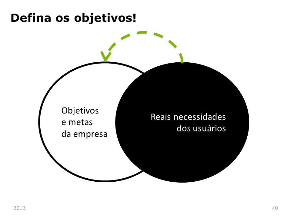 201340 Objetivos e metas da empresa Reais necessidades dos usuários Defina os objetivos!