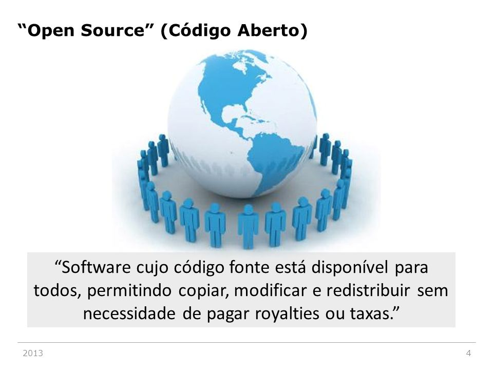 """20134 """"Software cujo código fonte está disponível para todos, permitindo copiar, modificar e redistribuir sem necessidade de pagar royalties ou taxas."""