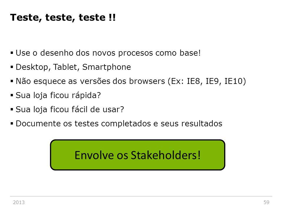 Teste, teste, teste !!  Use o desenho dos novos procesos como base!  Desktop, Tablet, Smartphone  Não esquece as versões dos browsers (Ex: IE8, IE9