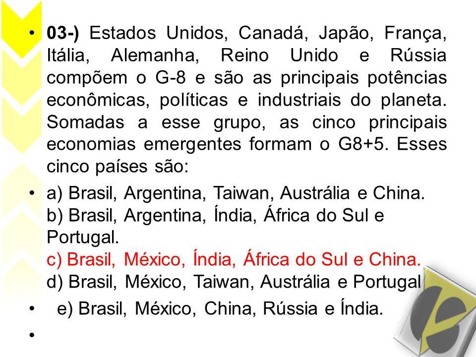 •03-) Estados Unidos, Canadá, Japão, França, Itália, Alemanha, Reino Unido e Rússia compõem o G-8 e são as principais potências econômicas, políticas