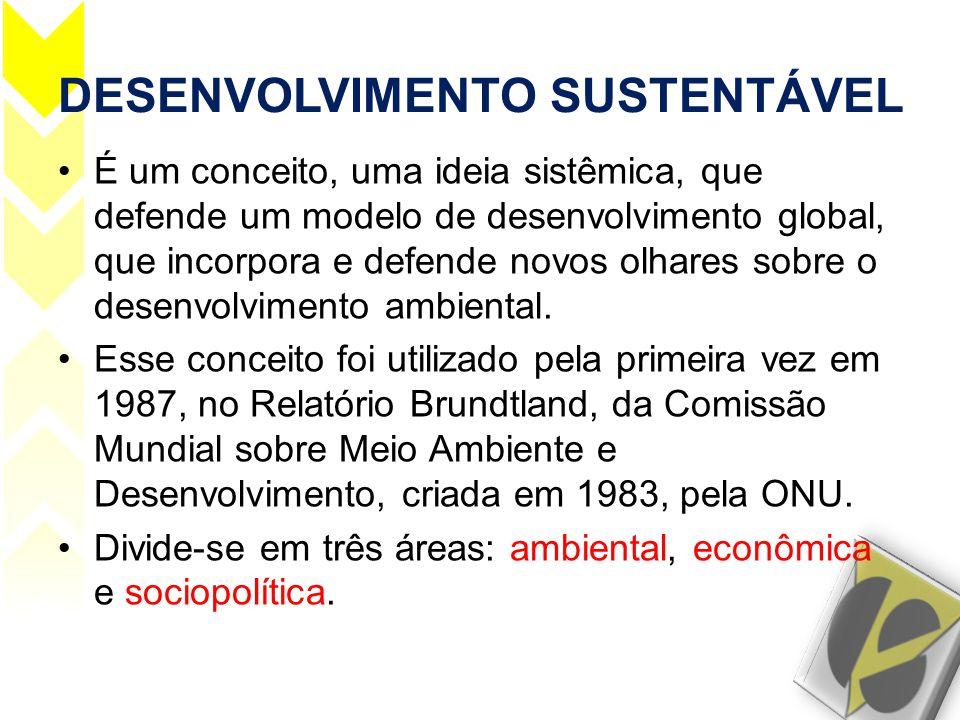 DESENVOLVIMENTO SUSTENTÁVEL •É um conceito, uma ideia sistêmica, que defende um modelo de desenvolvimento global, que incorpora e defende novos olhare