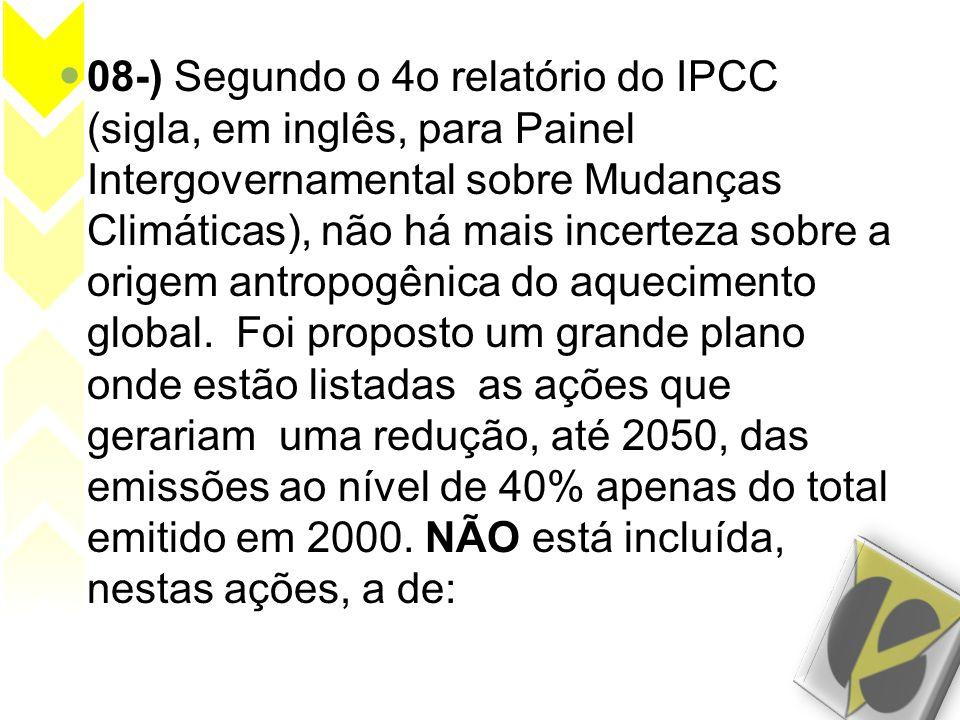  08-) Segundo o 4o relatório do IPCC (sigla, em inglês, para Painel Intergovernamental sobre Mudanças Climáticas), não há mais incerteza sobre a orig
