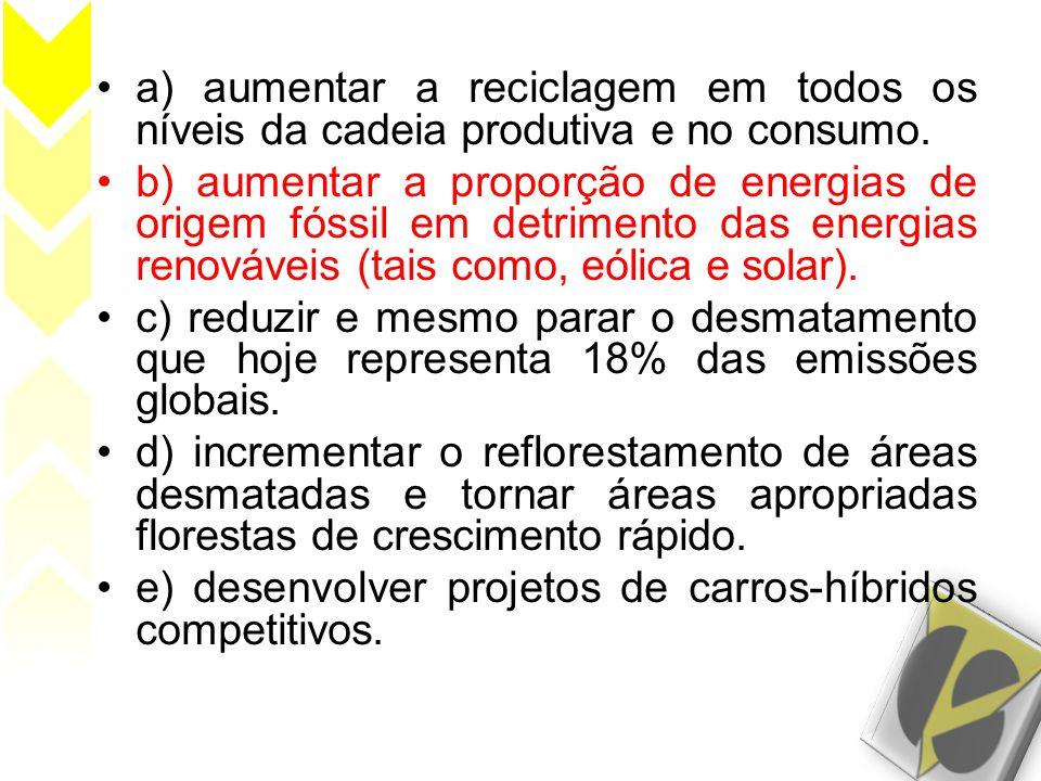 •a) aumentar a reciclagem em todos os níveis da cadeia produtiva e no consumo. •b) aumentar a proporção de energias de origem fóssil em detrimento das