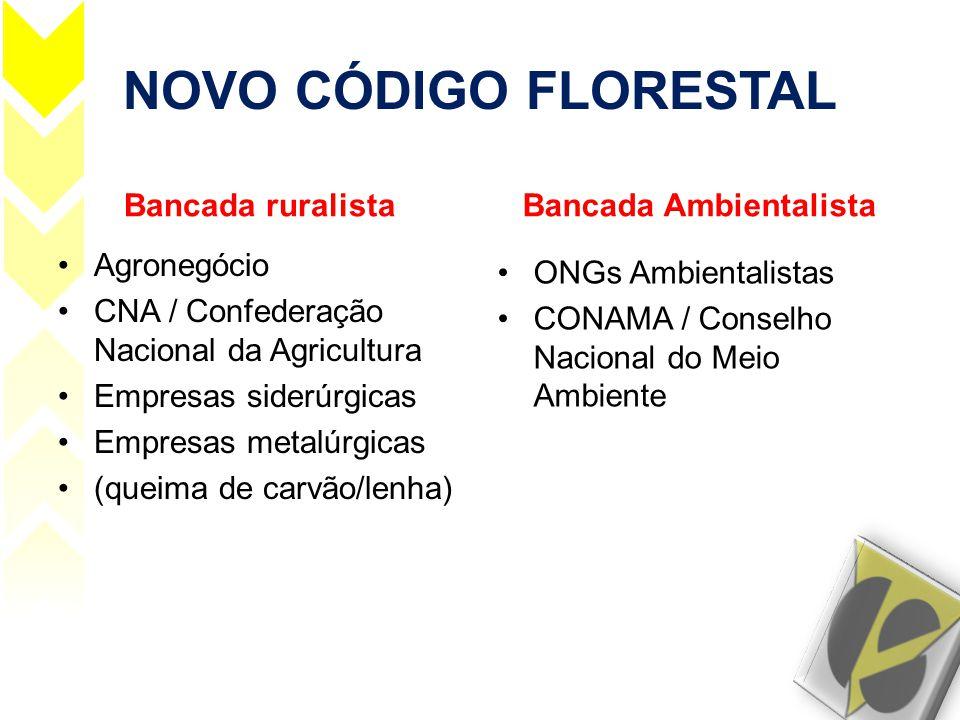 NOVO CÓDIGO FLORESTAL Bancada ruralista •Agronegócio •CNA / Confederação Nacional da Agricultura •Empresas siderúrgicas •Empresas metalúrgicas •(queim