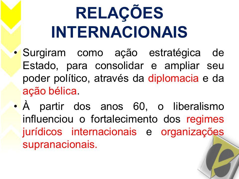 RELAÇÕES INTERNACIONAIS •Surgiram como ação estratégica de Estado, para consolidar e ampliar seu poder político, através da diplomacia e da ação bélic