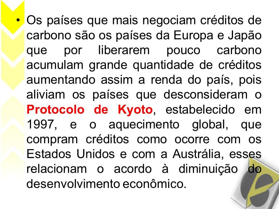 •Os países que mais negociam créditos de carbono são os países da Europa e Japão que por liberarem pouco carbono acumulam grande quantidade de crédito