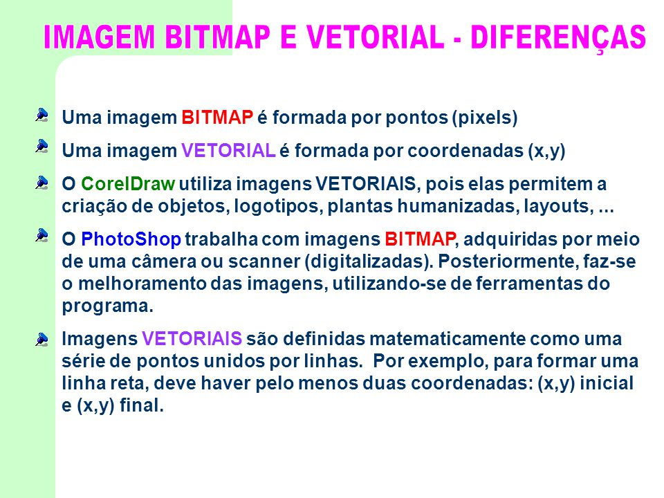 Uma imagem BITMAP é formada por pontos (pixels) Uma imagem VETORIAL é formada por coordenadas (x,y) O CorelDraw utiliza imagens VETORIAIS, pois elas p