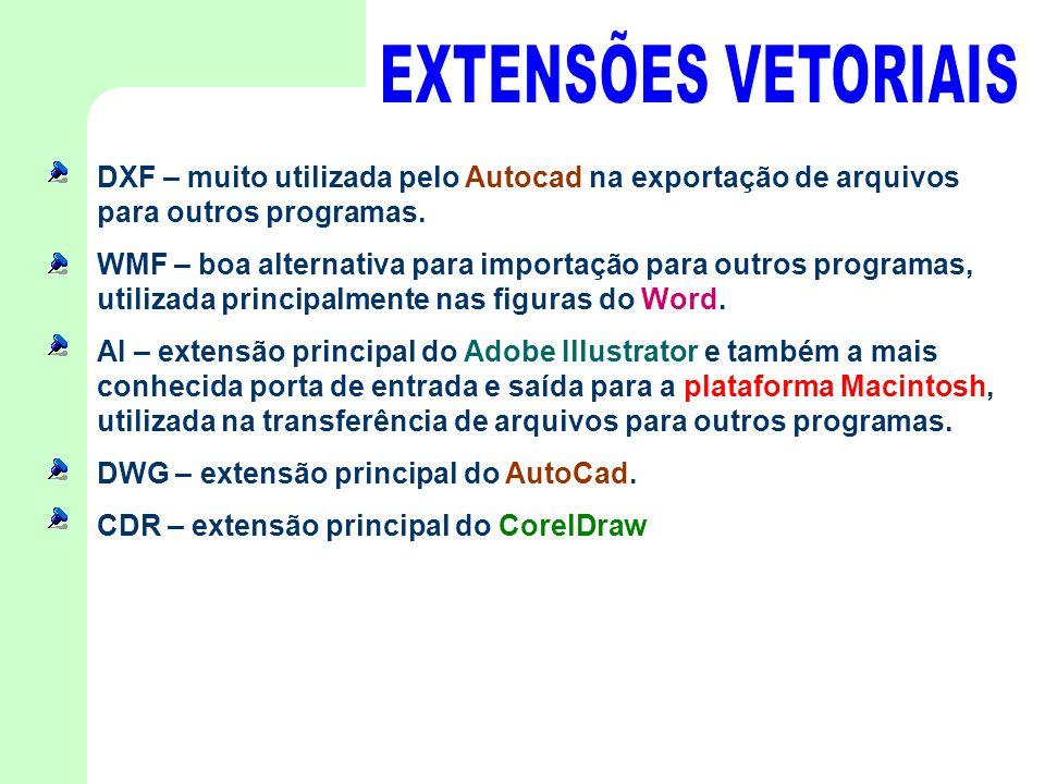 DXF – muito utilizada pelo Autocad na exportação de arquivos para outros programas. WMF – boa alternativa para importação para outros programas, utili