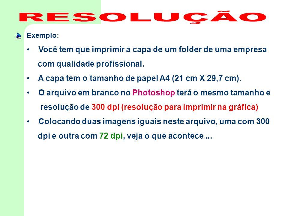 Exemplo: • Você tem que imprimir a capa de um folder de uma empresa com qualidade profissional. • A capa tem o tamanho de papel A4 (21 cm X 29,7 cm).
