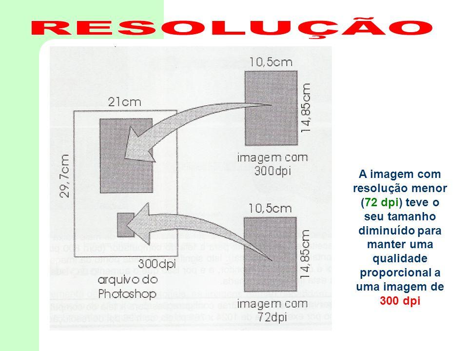 A imagem com resolução menor (72 dpi) teve o seu tamanho diminuído para manter uma qualidade proporcional a uma imagem de 300 dpi