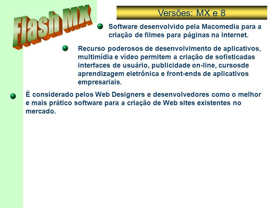Software desenvolvido pela Macomedia para a criação de filmes para páginas na Internet. Recurso poderosos de desenvolvimento de aplicativos, multimídi