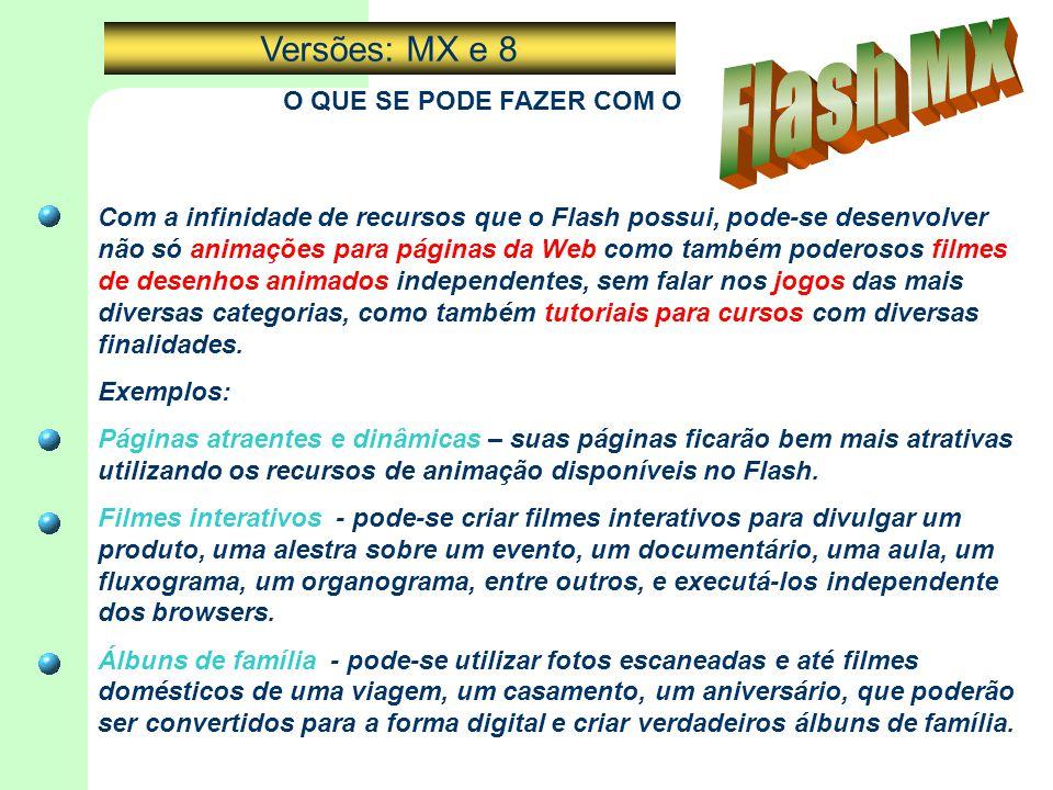 O QUE SE PODE FAZER COM O Com a infinidade de recursos que o Flash possui, pode-se desenvolver não só animações para páginas da Web como também podero