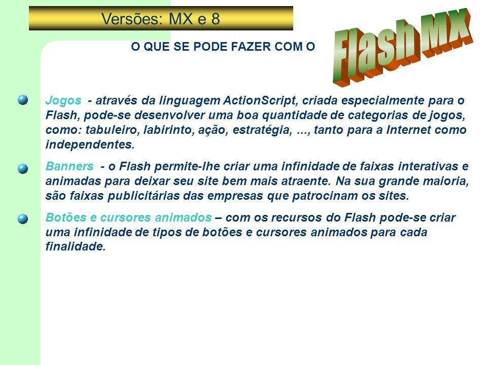 O QUE SE PODE FAZER COM O Jogos - através da linguagem ActionScript, criada especialmente para o Flash, pode-se desenvolver uma boa quantidade de cate