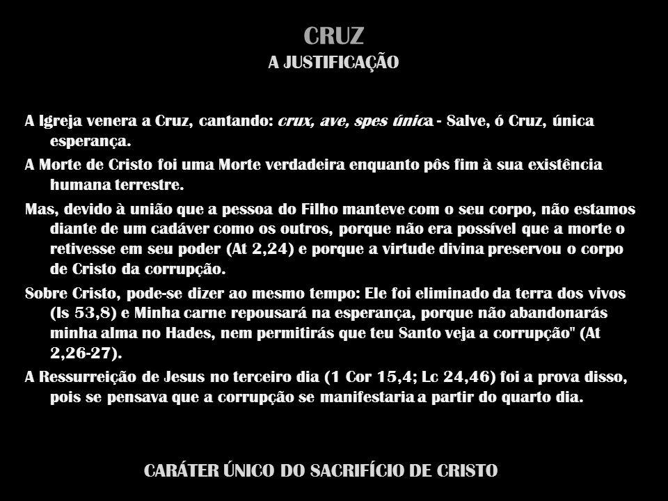 CRUZ A JUSTIFICAÇÃO A Igreja venera a Cruz, cantando: crux, ave, spes única - Salve, ó Cruz, única esperança. A Morte de Cristo foi uma Morte verdadei