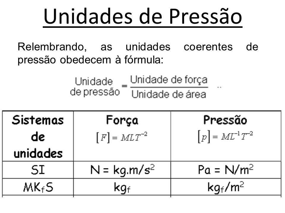 Unidades de Pressão • A unidade de pressão no sistema S.I.