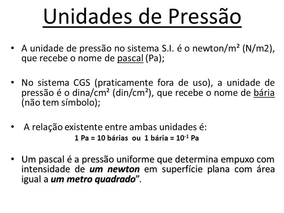 Unidades de Pressão • A unidade de pressão no sistema S.I. é o newton/m² (N/m2), que recebe o nome de pascal (Pa); • No sistema CGS (praticamente fora