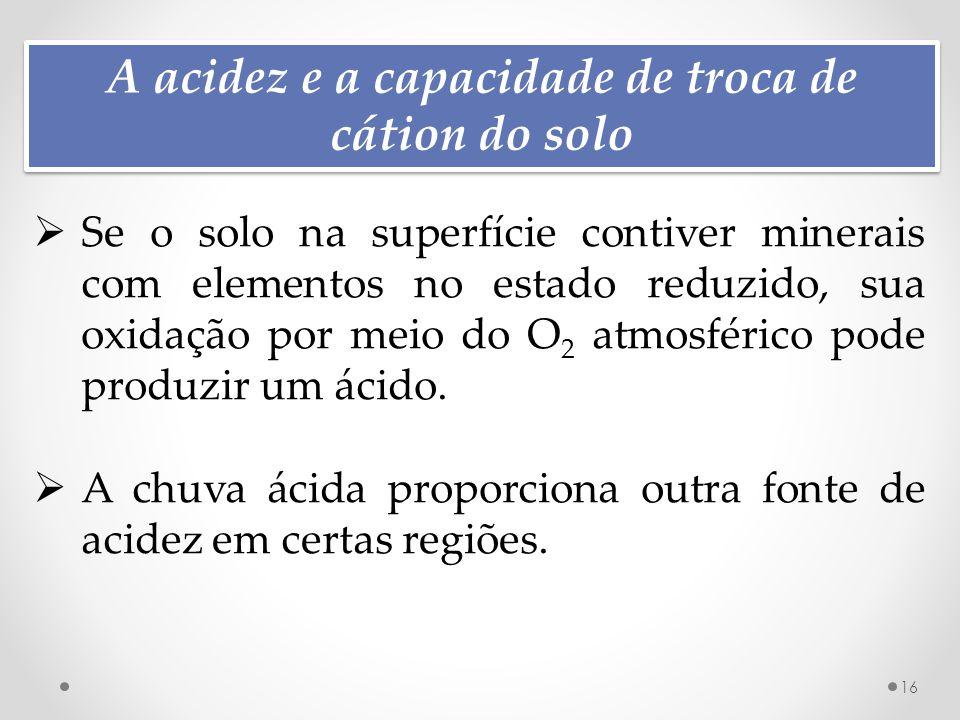 A acidez e a capacidade de troca de cátion do solo 16  Se o solo na superfície contiver minerais com elementos no estado reduzido, sua oxidação por meio do O 2 atmosférico pode produzir um ácido.