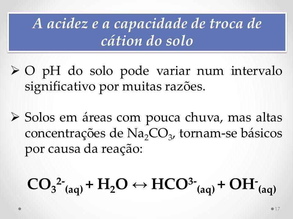 A acidez e a capacidade de troca de cátion do solo 17  O pH do solo pode variar num intervalo significativo por muitas razões.