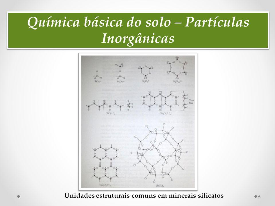 Química básica do solo – Partículas Inorgânicas 7  Ao longo do tempo, o intemperismo de minerais de silicatos de rochas pode envolver reações químicas com água e ácidos.