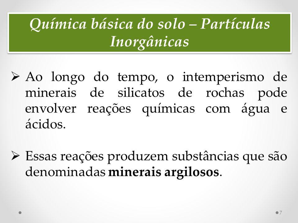 Química básica do solo – Partículas Inorgânicas 8  Um mineral que possui um tamanho de partícula menor que 2µm é definido como sendo componente da fração da argila do solo;  Além da argila existem muitos outros tipos de solo; a definição de cada tipo depende do tamanho de partícula;