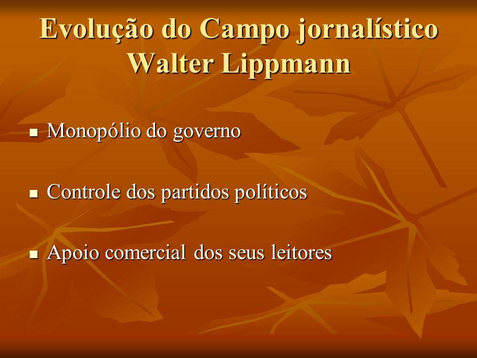 Evolução do Campo jornalístico Walter Lippmann  Monopólio do governo  Controle dos partidos políticos  Apoio comercial dos seus leitores