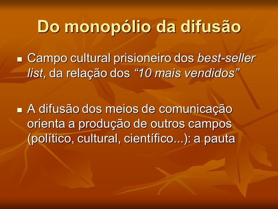 """Do monopólio da difusão  Campo cultural prisioneiro dos best-seller list, da relação dos """"10 mais vendidos""""  A difusão dos meios de comunicação orie"""