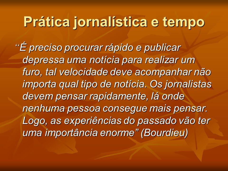 """Prática jornalística e tempo """" É preciso procurar rápido e publicar depressa uma notícia para realizar um furo, tal velocidade deve acompanhar não imp"""