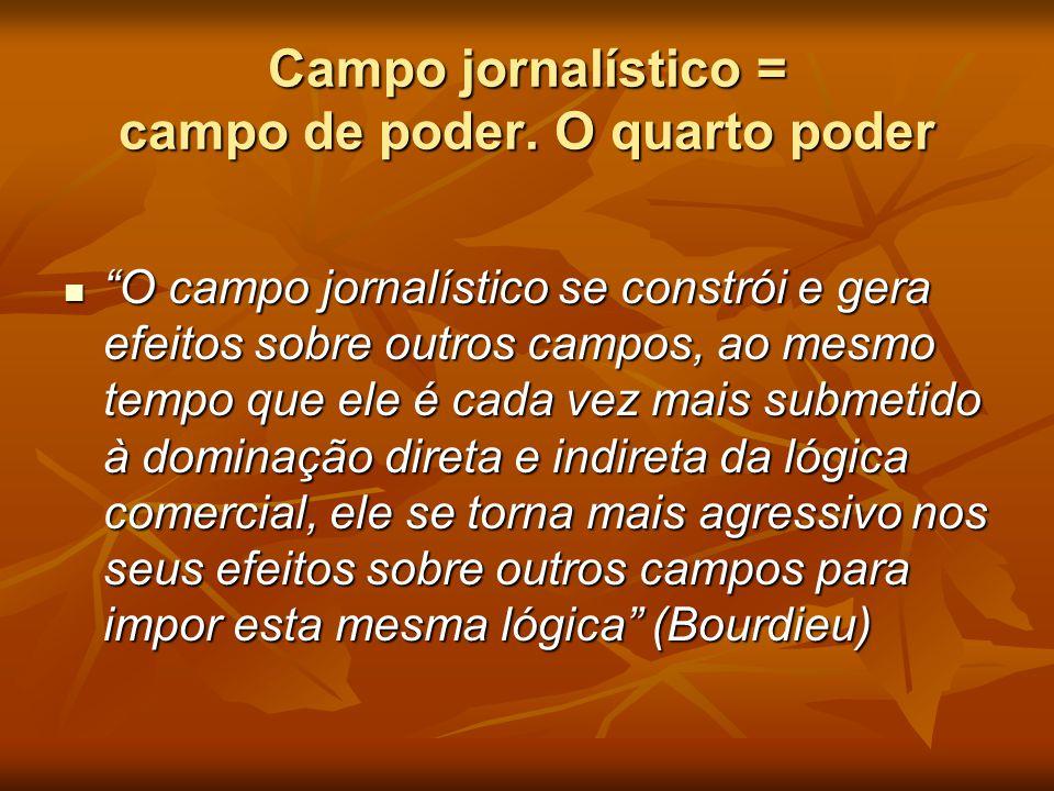 """Campo jornalístico = campo de poder. O quarto poder  """"O campo jornalístico se constrói e gera efeitos sobre outros campos, ao mesmo tempo que ele é c"""