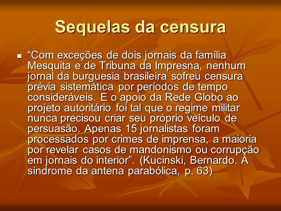 """Sequelas da censura  """"Com exceções de dois jornais da família Mesquita e de Tribuna da Impresna, nenhum jornal da burguesia brasileira sofreu censura"""