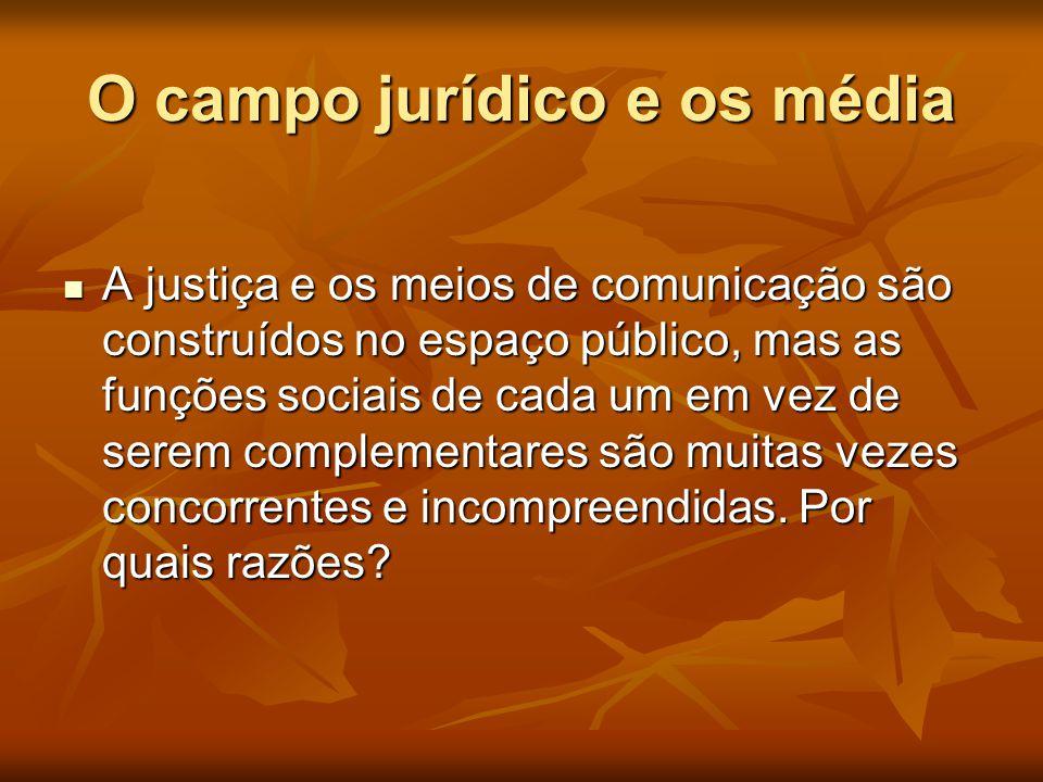 O campo jurídico e os média  A justiça e os meios de comunicação são construídos no espaço público, mas as funções sociais de cada um em vez de serem