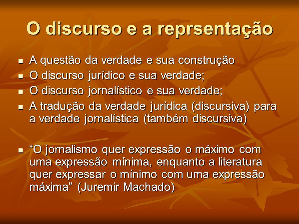 O discurso e a reprsentação  A questão da verdade e sua construção  O discurso jurídico e sua verdade;  O discurso jornalístico e sua verdade;  A