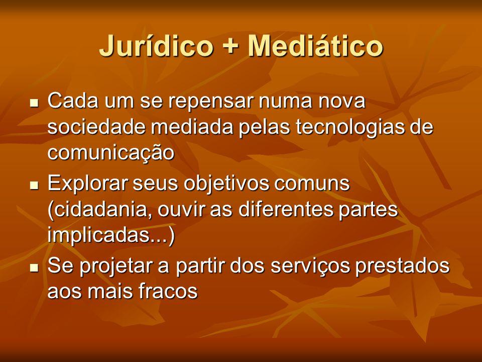Jurídico + Mediático  Cada um se repensar numa nova sociedade mediada pelas tecnologias de comunicação  Explorar seus objetivos comuns (cidadania, o