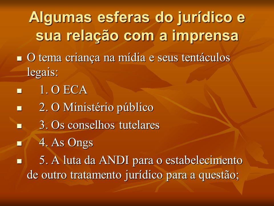 Algumas esferas do jurídico e sua relação com a imprensa  O tema criança na mídia e seus tentáculos legais:  1. O ECA  2. O Ministério público  3.