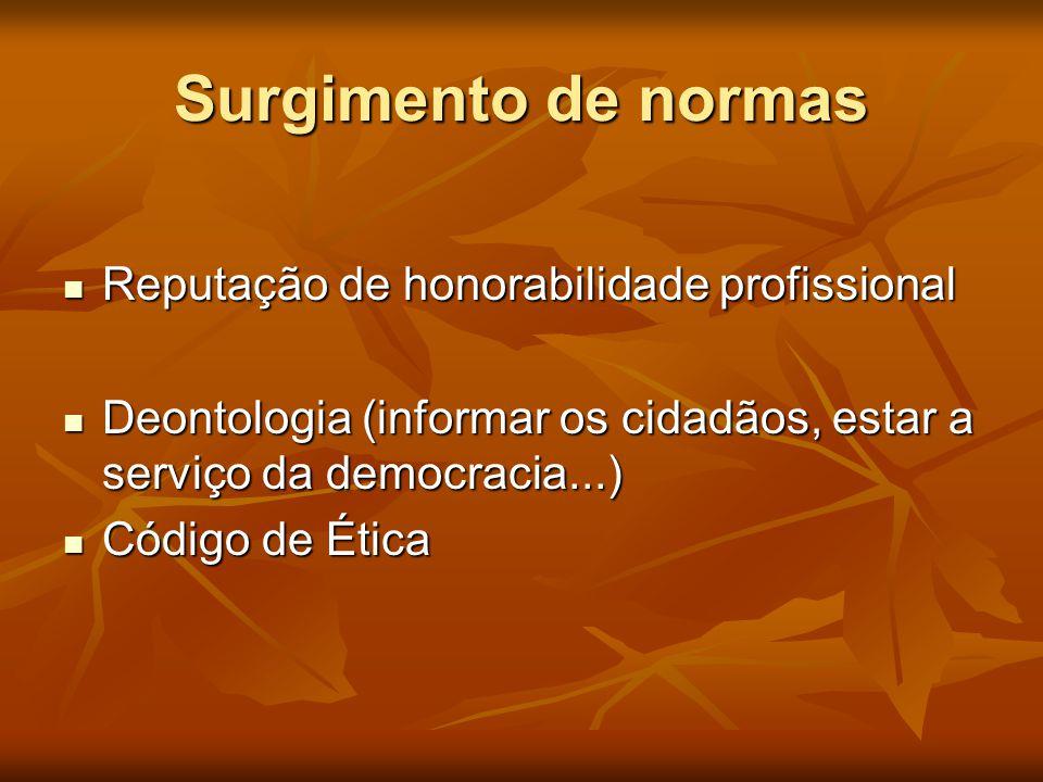 Surgimento de normas  Reputação de honorabilidade profissional  Deontologia (informar os cidadãos, estar a serviço da democracia...)  Código de Éti