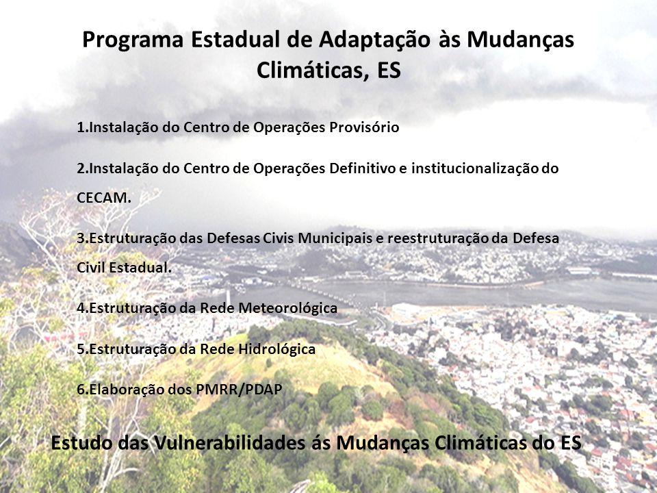 Programa Estadual de Adaptação às Mudanças Climáticas, ES Estudo das Vulnerabilidades ás Mudanças Climáticas do ES 1.Instalação do Centro de Operações Provisório 2.Instalação do Centro de Operações Definitivo e institucionalização do CECAM.