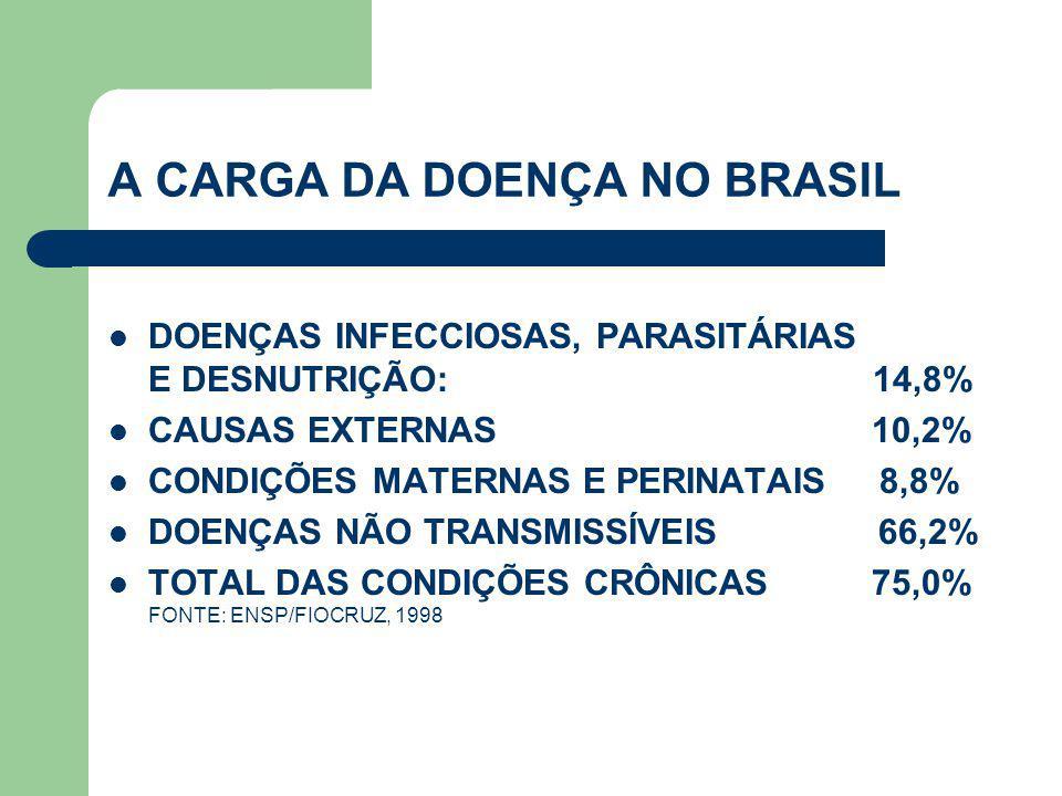 A CARGA DA DOENÇA NO BRASIL  DOENÇAS INFECCIOSAS, PARASITÁRIAS E DESNUTRIÇÃO: 14,8%  CAUSAS EXTERNAS 10,2%  CONDIÇÕES MATERNAS E PERINATAIS 8,8% 