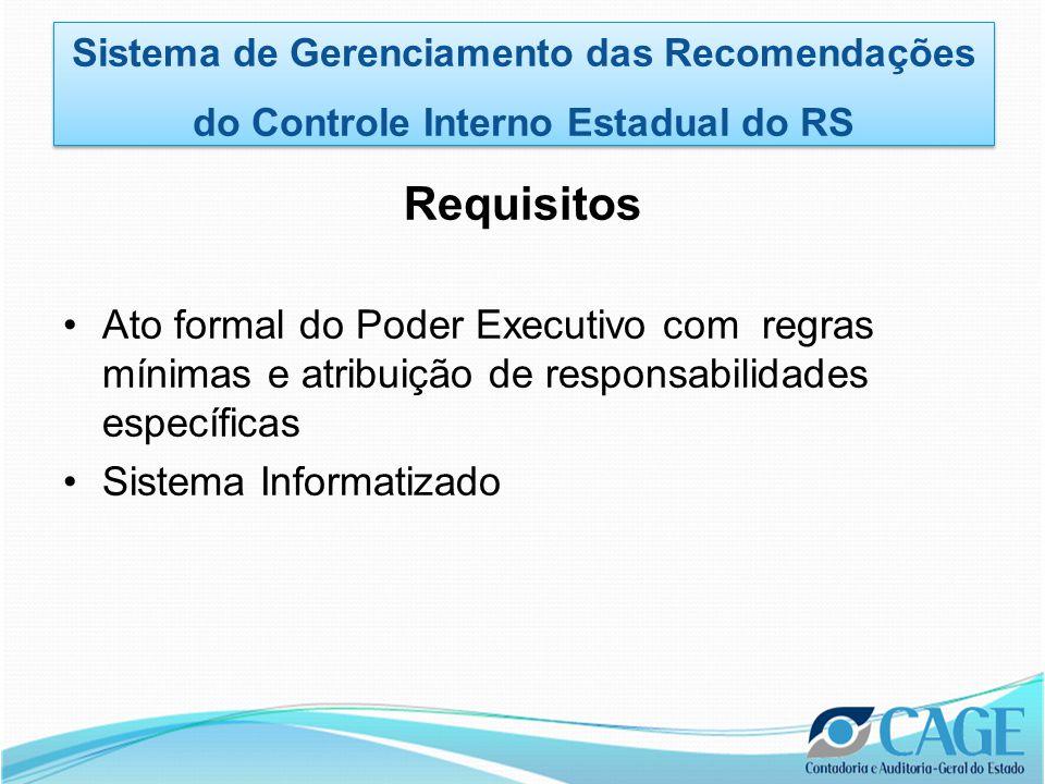 Requisitos •Ato formal do Poder Executivo com regras mínimas e atribuição de responsabilidades específicas •Sistema Informatizado Sistema de Gerenciamento das Recomendações do Controle Interno Estadual do RS